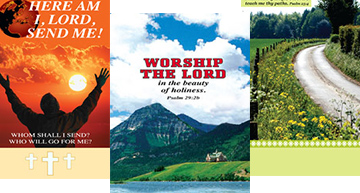 Collage of weekly church bulletins